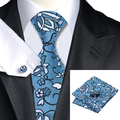 C-1108 Moda Hombre Corbata Azul de Flores Blancas de Seda Jacquard Corbatas Hanky Gemelos Conjunto de Boda de Negocios Corbata Para Los Hombres