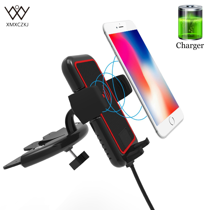 Qi Wireless Charger Holder CD Slot Car Phone Holder For iPhone X 8 Samsung Galaxy S7 S8 Phone Mount Holder Stand 360 Rotatable