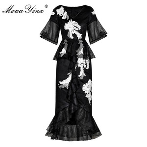 Image 1 - MoaaYina Fashion Designer Runway dress Spring Summer Women Dress Floral Embroidery Package buttocks Mermaid Dresses