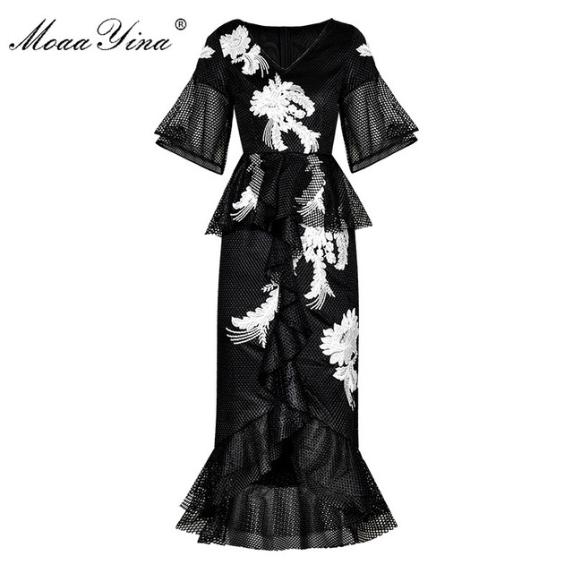 MoaaYina Fashion Designer Runway dress Spring Summer Women Dress Floral Embroidery Package buttocks Mermaid Dresses