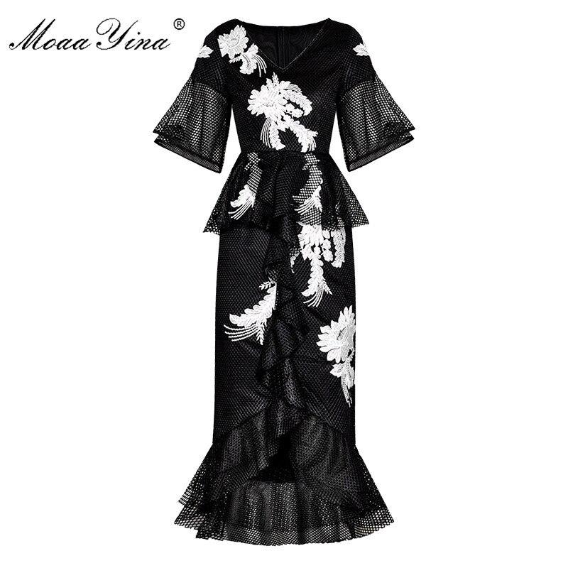 Kadın Giyim'ten Elbiseler'de MoaaYina Moda Tasarımcı Pist elbise İlkbahar Yaz Kadın Elbise Çiçek Nakış Paket kalça Mermaid Elbiseler'da  Grup 1