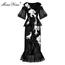 MoaaYina moda tasarımcı pist elbise İlkbahar yaz kadın elbise çiçek nakış paket kalça Mermaid elbiseler