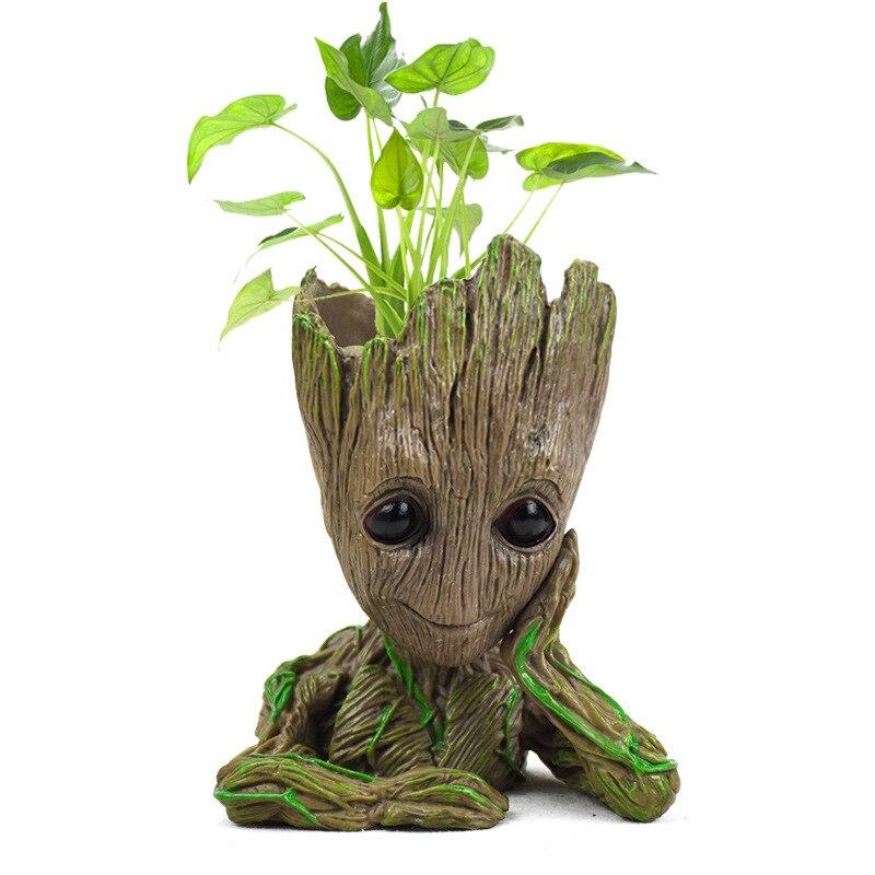 Vaso de flores do bebê groot flowerpot plantador figuras ação árvore homem modelo brinquedo para crianças caneta titular jardim criativo vaso de flores