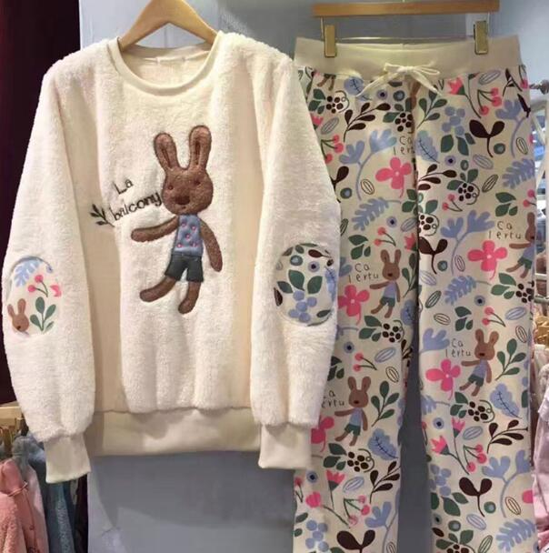 Autumn Winter Women Sleepwear Lovely Rabbit Pajamas Sets Nightwear Thicken Home Clothes