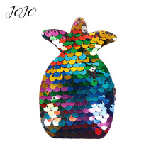 JOJO BOWS 10pcs Reversible Sequin Patch Double Face Black Color Pineapple Pattern Accessories For Needlework Apparel Decoration