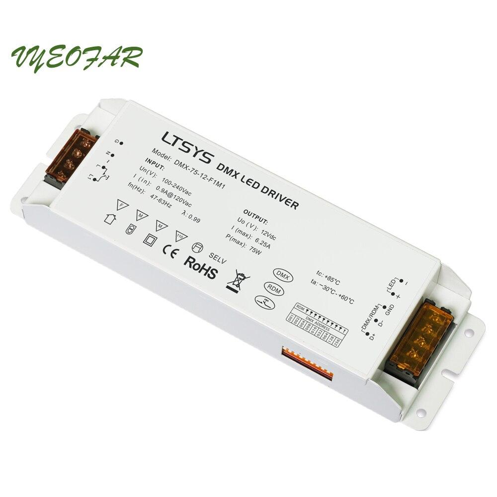 LTECH DMX-75-12-F1M1;75W DMX512/RDM LED driver;AC100-240V input;max 12V/6.25A/75W output DMX Led Driver Push Dim ltech dali 75 12 f1m1 dali led dimming driver ac100 240v input dc 12v 6 25a 75w output dali push button dimmer