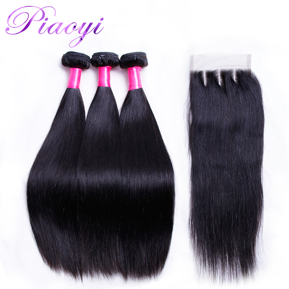 Piaoyi Malaysian Straight Hair 3 Bundles With Closure Three Part 4x4 Lace Closure With Bundles Remy Human Hair Weave