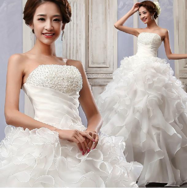 Best Wedding Gowns 2015: 2015 Fashion Crystal Pearls Tube Top Bandage Bride Wedding