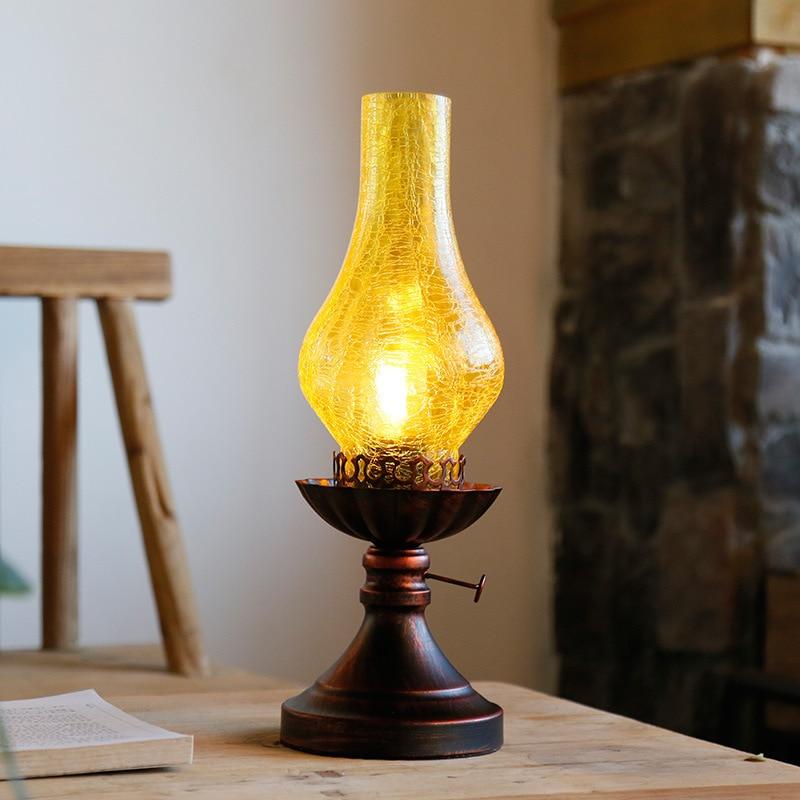 Туда 14x38 см Бесплатная доставка китайский Стиль керосин настольная лампа в форме творческий ретро декоративные Настольная лампа для Гостин...