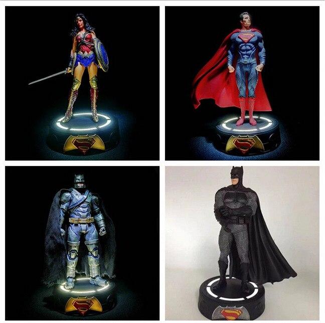 Wonder Woman Figure Justice League Batman Armor Batman Superman LED Light Base Action Figure Model Collection Toy набор фигурок dc comics batman wonder woman superman 3 в 1 17 см