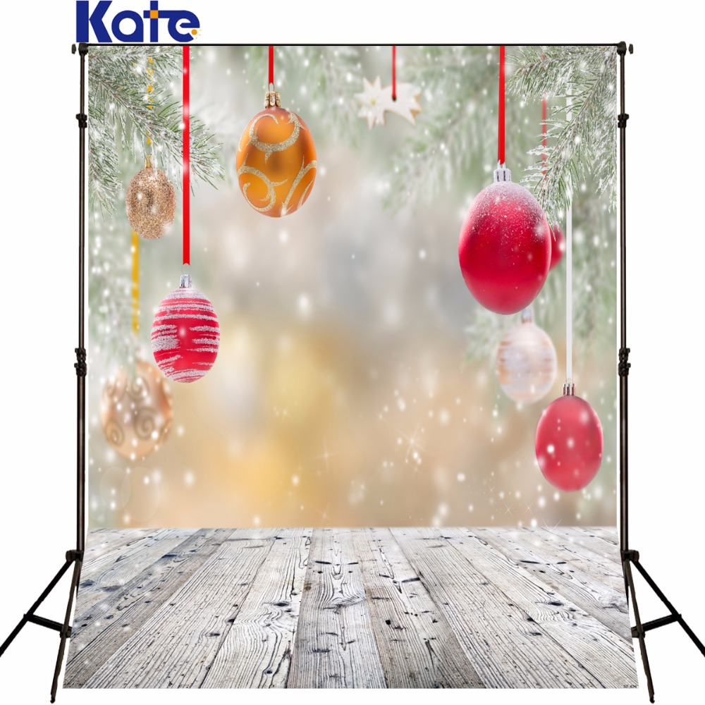 Kate 5x7ft Christmas backdrop Photography wood floor lighting spot snow photo backdrops red ball tree fotografia for studio bell