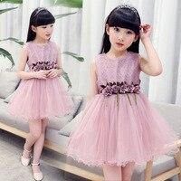 The New 2017 Grils Sweet Sleeveless Dresses Children S Clothing Wholesale Flower Dress Girl Summer Wear