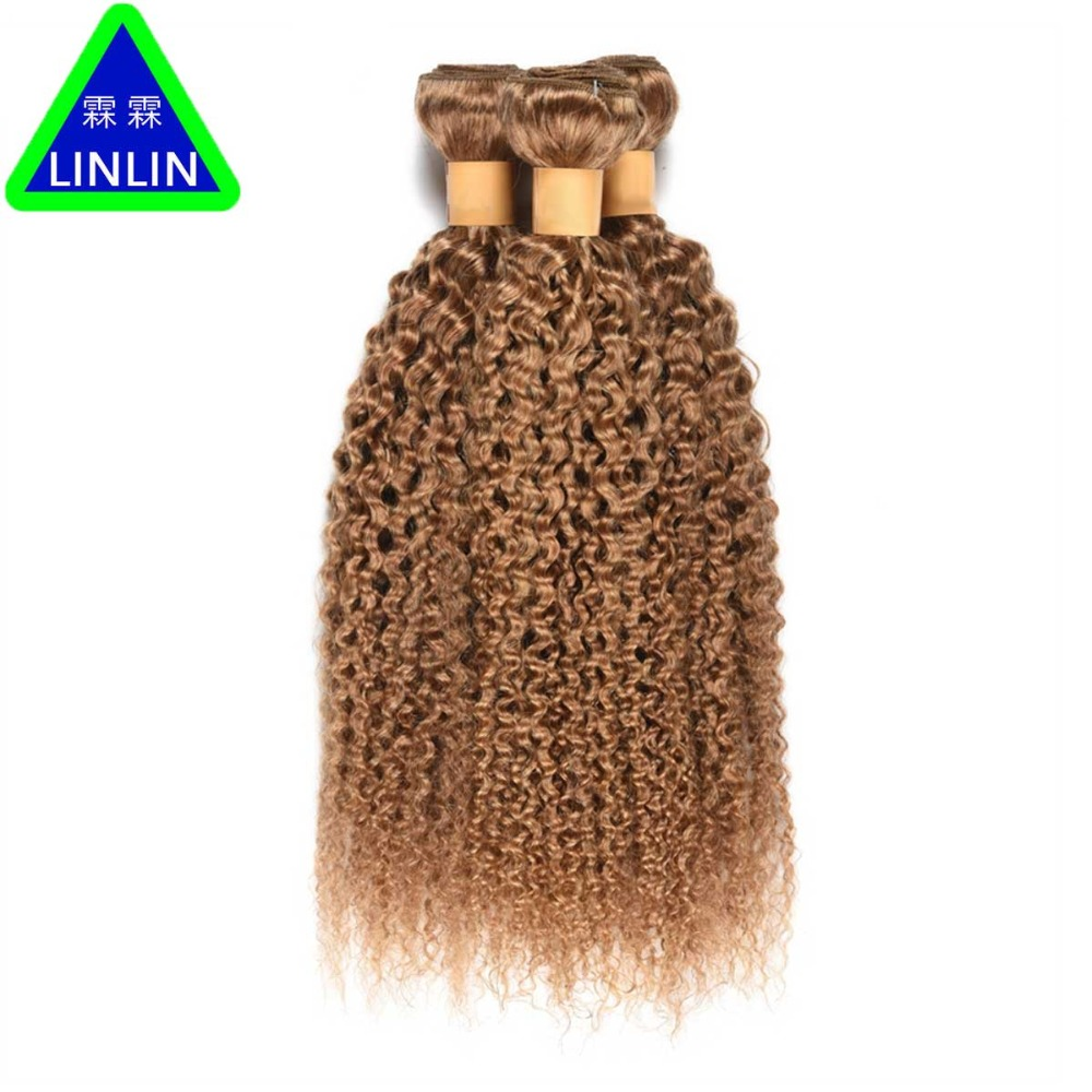 LINLIN Honey Blonde Color Burmese Kinky Curly Hair 3 Bundles #27 Human Hair Weaving Curl Hair Extensions Double WeftHair Rollers