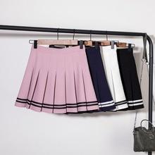 цена на Women Pleated Short Skirts Lolita Style Harajuku Kawaii Sweet Striped Skirts Mini Cute School Uniforms Saia Faldas Ladies Jupe