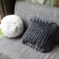 Decorative Pillows Cushions Handmade Knotted Knot Ball Decorative Sofa Cushions Simple for Car Home Wool Merino Thick Yarn Plaid
