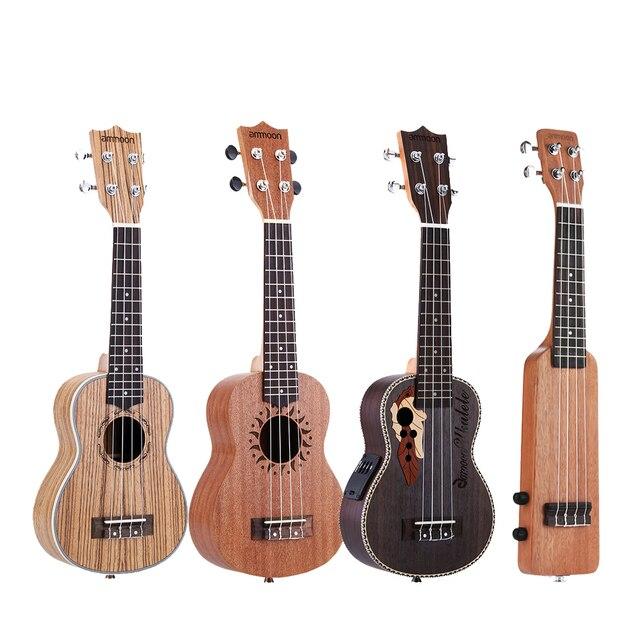 """Ammoon série ululele 21 """"ukulele conjunto 15 traste 4 cordas cordas instrumento musical 19 estilos ukulele"""