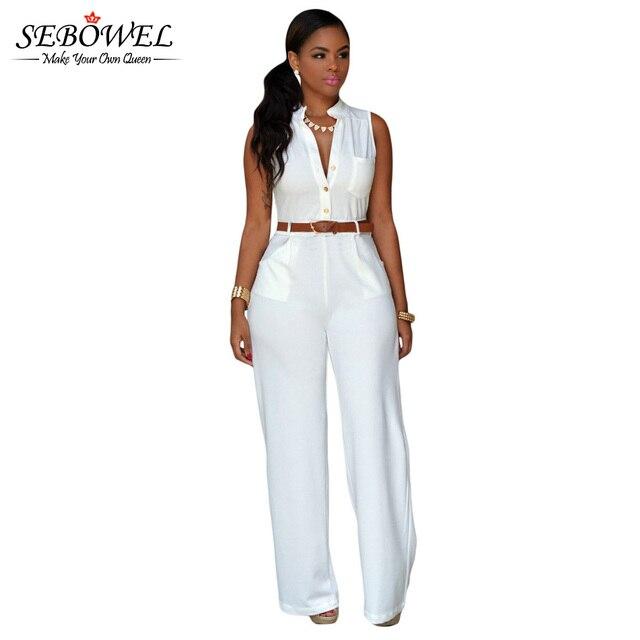 ee58f812032 SEBOWEL 2019 Summer White Black Jumpsuit Rompers Women Sleeveless Wide Leg  Jumpsuit Office Lady Elegant Belt