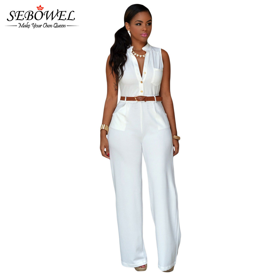 SEBOWEL 2019 Summer White Black   Jumpsuit   Rompers Women Sleeveless Wide Leg   Jumpsuit   Office Lady Elegant Belt Long Wide Leg Pants