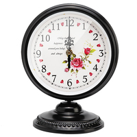 Creative Retro Iron Mute Desktop Clock Silent Simple Needle Clock Table Clock For for Living Room Bedroom Decoration