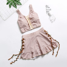 e94921b39d Tankini 2018 crochet bikini traje de baño femenino conservador rejilla fina  recogida falda de dos piezas