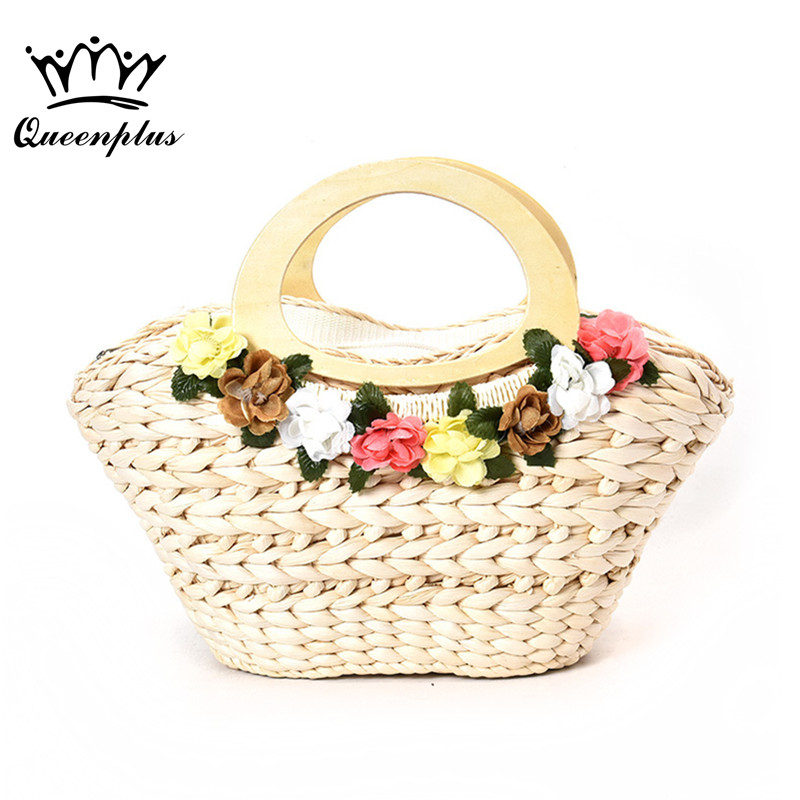 2017 New Summer Bag for Beach Big Straw Bags Handmade Woven Tote Women Travel Handbags Designer Vintage Shopping Hand Bags handmade flower appliques straw woven bulk bags trendy summer styles beach travel tote bags women beatiful handbags