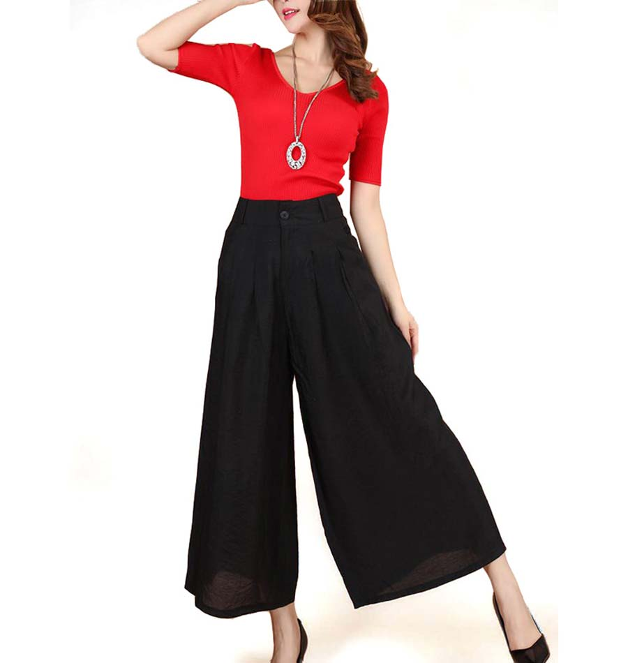 New Women High Waist Elastic Linen Trousers Female Straight Casual Pants Loose Long Wide Leg ...