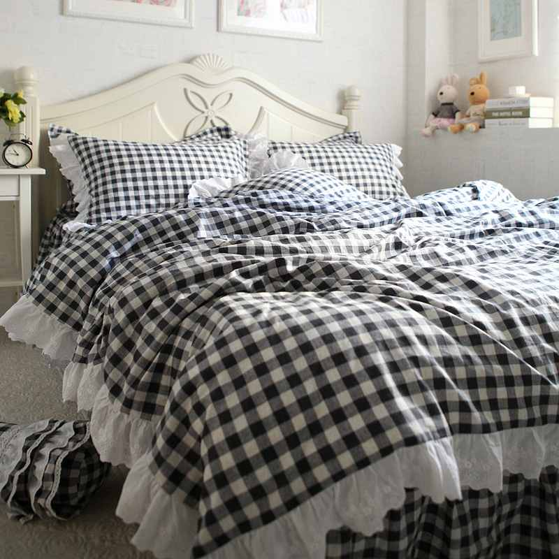 Black White Plaid Bedclothes Bed Skirts 100 Cotton Duvet