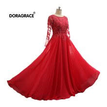 Doragrace Elegant A Line Floor-Length Applique Beaded Chiffon 3/4 Sleeve Red Evening Dresses Plus Size