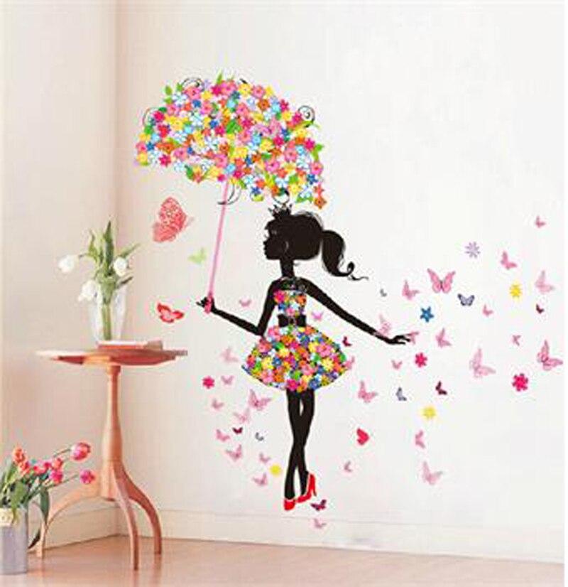 1 pièces nouveau créatif parapluie mur Art autocollant autocollant PVC amovible Mural PVC décor à la maison cadeau mignon petite fille stickers muraux