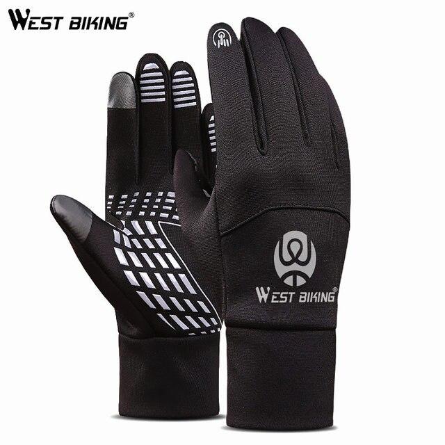 WEST BIKING Winter Cycling Full Finger Gloves Waterproof Touch Screen Anti-Slip Keep Warm Outdoor Sport MTB Road Bike Gloves