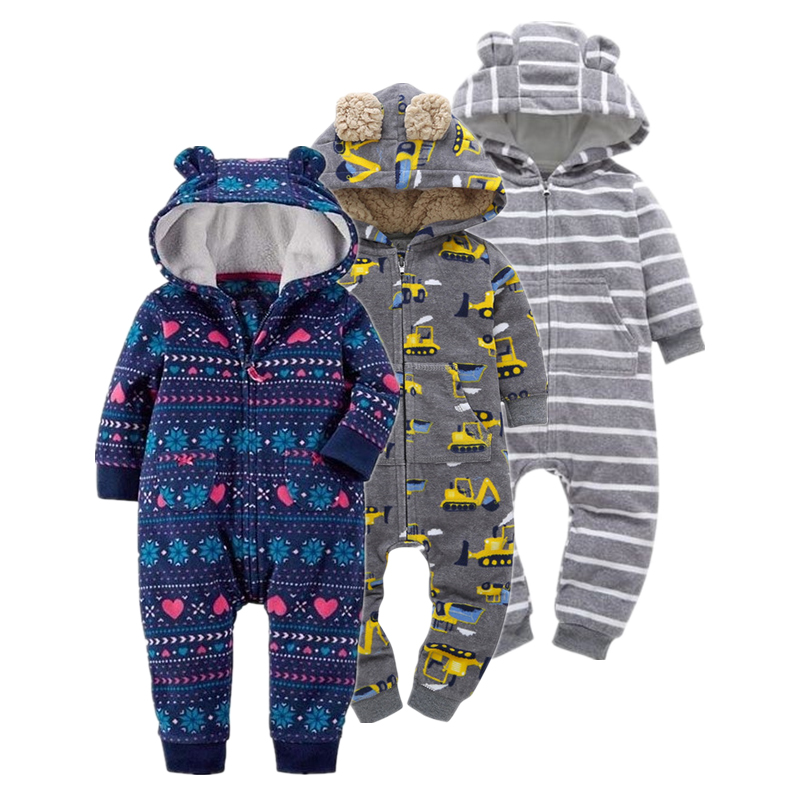 Newborn Baby Rompers Cotton Padded Thicken Warm Girls Clothing Set Winter Cartoon Toddler Hooded Clothes Unisex Infant Jumpsuits baby girls rompers cotton baby clothes fruit infant jumpsuits hat 2pcs toddler girls clothing set 2017 newborn photography props