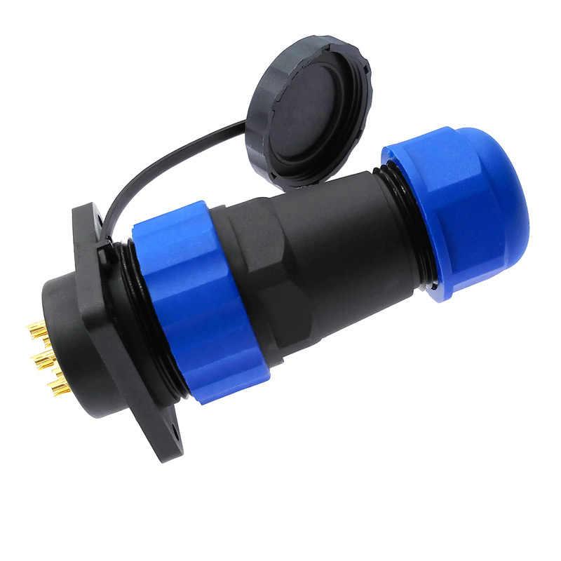 Conector de brida SP28 recto IP68 resistente al agua de 2 pines 3/4/5/6/7/9/10/12/14/16/19/22/24/26pin
