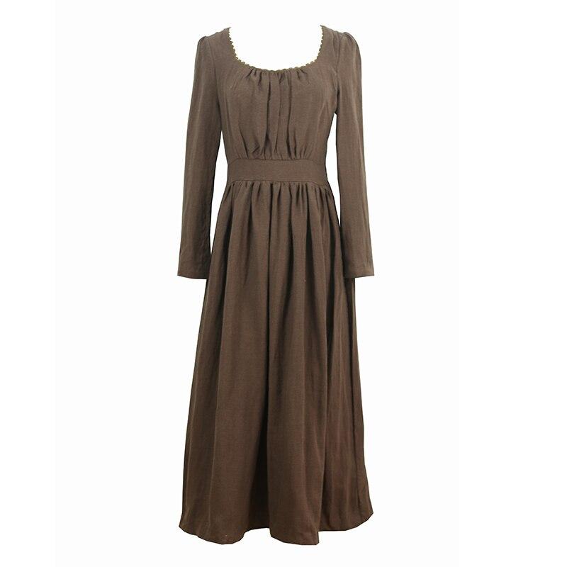 Manches Lynette's Haute Automne Chinoiserie Style Victoria Printemps Robes Marron Femmes De Vitnage Taille Lin Longues SzfSw