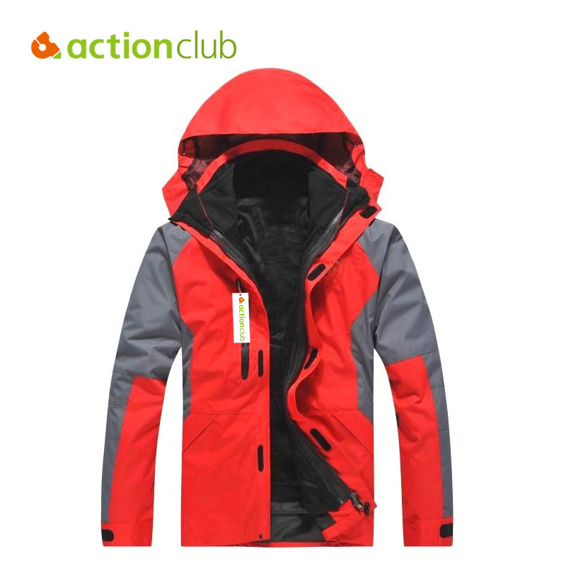 Actionclub Outdoor Men Breathable Waterproof Windbreaker Fleece Sports Jacket Hiking Climbing Winter Warm Clothing Two Pieces