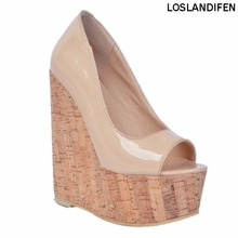 2018 New Style Womens Fashion Handmade 15cm Peep-toe Wadge Heel Party Prom Sandals XD033