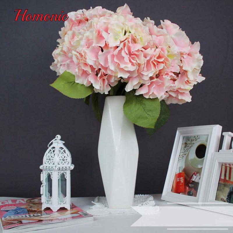 Hortênsia flores artificiais 5 Cabeças Grandes 2 Bounquet - Para feriados e festas