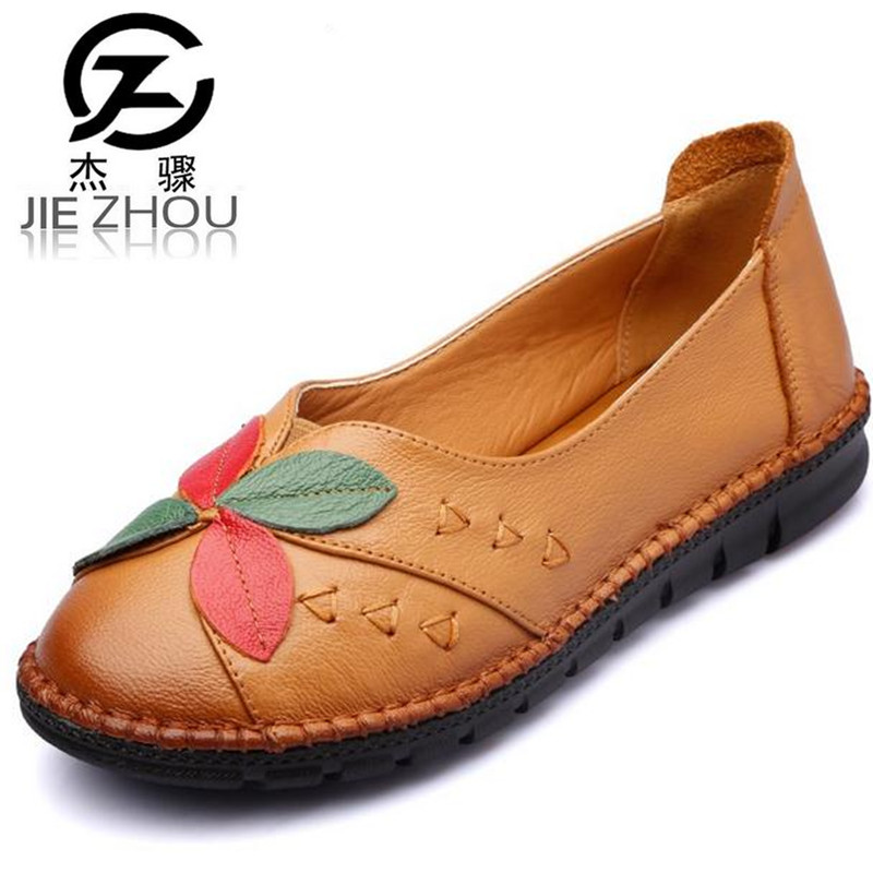 2017 spring autumn new flat heel Women shoes Genuine Leather Non-slip Soft bottom Fight color flowers driving shoes Female 2016 spring and autumn women s shoes female flat heel maternity shoes genuine leather shoes flats for women