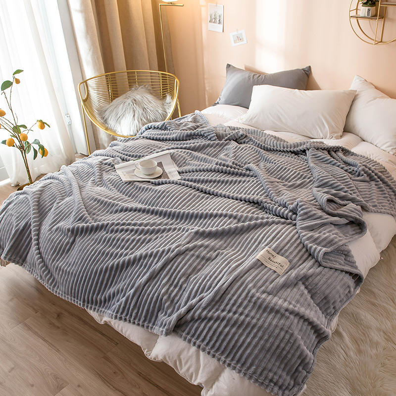 Bonenjoy Gray Blanket On The Bed Single Queen King Coral Fleece Blanket For Beds Soft Warm Couverture De Lit