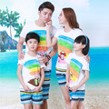 Summer Beach Children Slippers Cotton T Shirt Blue Striped Dry Pants Family Clothing Sets Mother Father Baby Matching Outfits