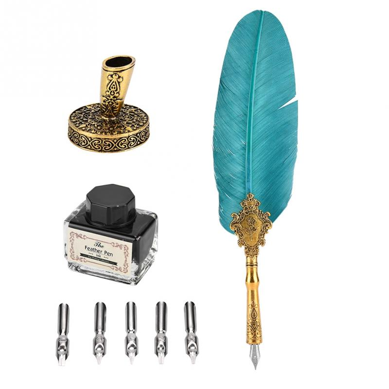 Retro Classical Fountain Pen Old European Style Feather With 5 Dip Pen Nips Writing Pen Ink Bottle Set Gift Box