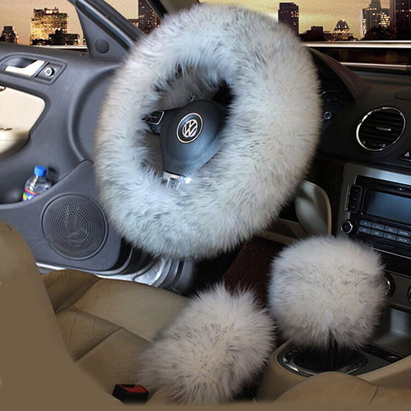 3pcs/set Winter Wool Car Steering Wheel Cover Long Australian Wool Heated Fur Steering Wheel Cover Handbrake Gear Shifter Cover
