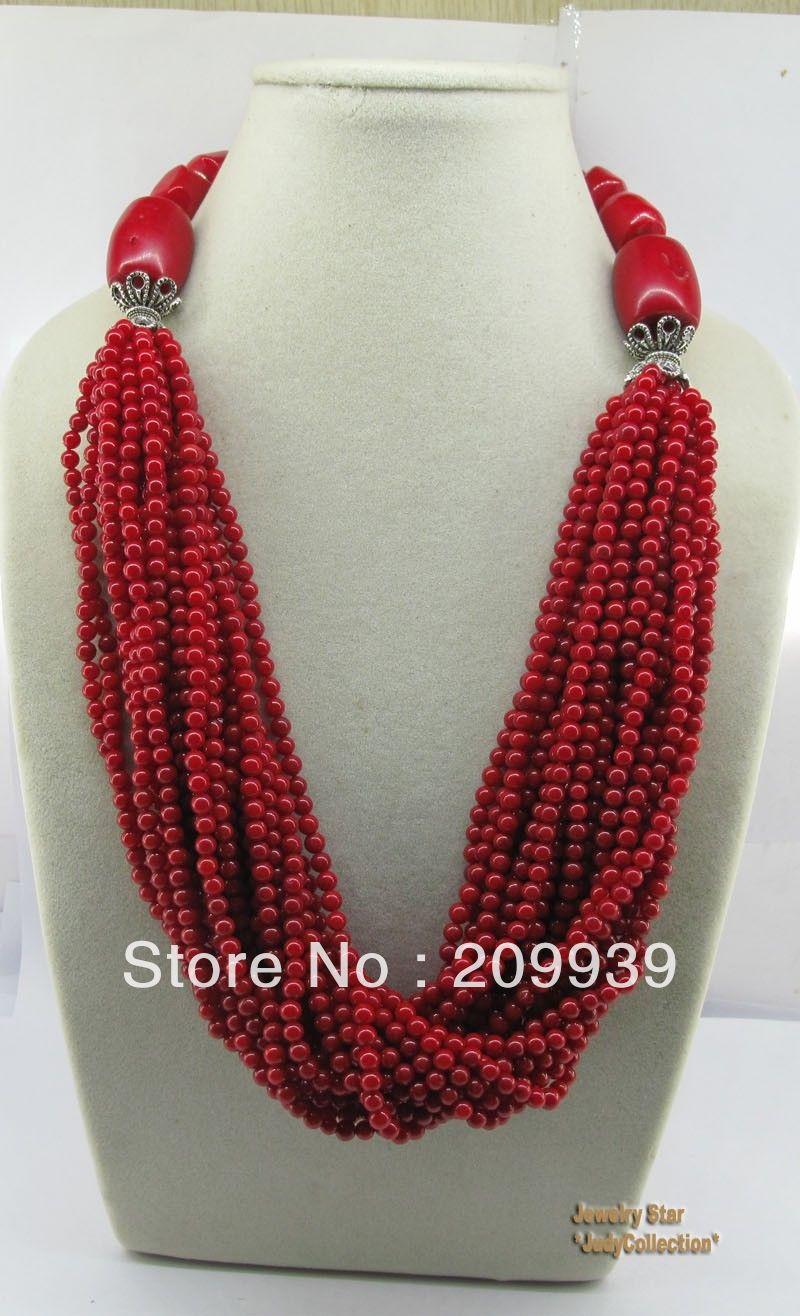 БЕСПЛАТНАЯ ДОСТАВКА >>@> A26 Уникальный Стиль 20nch Драгоценного Камня Красного Коралла и Тибетские Серебряные Шарики Ожерелье 4.30