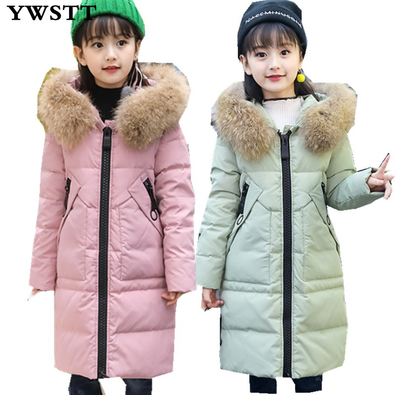 -30Dgree Winter Duck Down Jacket Boy Winter Coat Kids Warm Thick Fur Collar Hooded long down Coats For Teenage 6Y-12Y boy winter long warm down jacket boy simple fashion warm down jacket boy big fur collar thick coat boy solid color coat