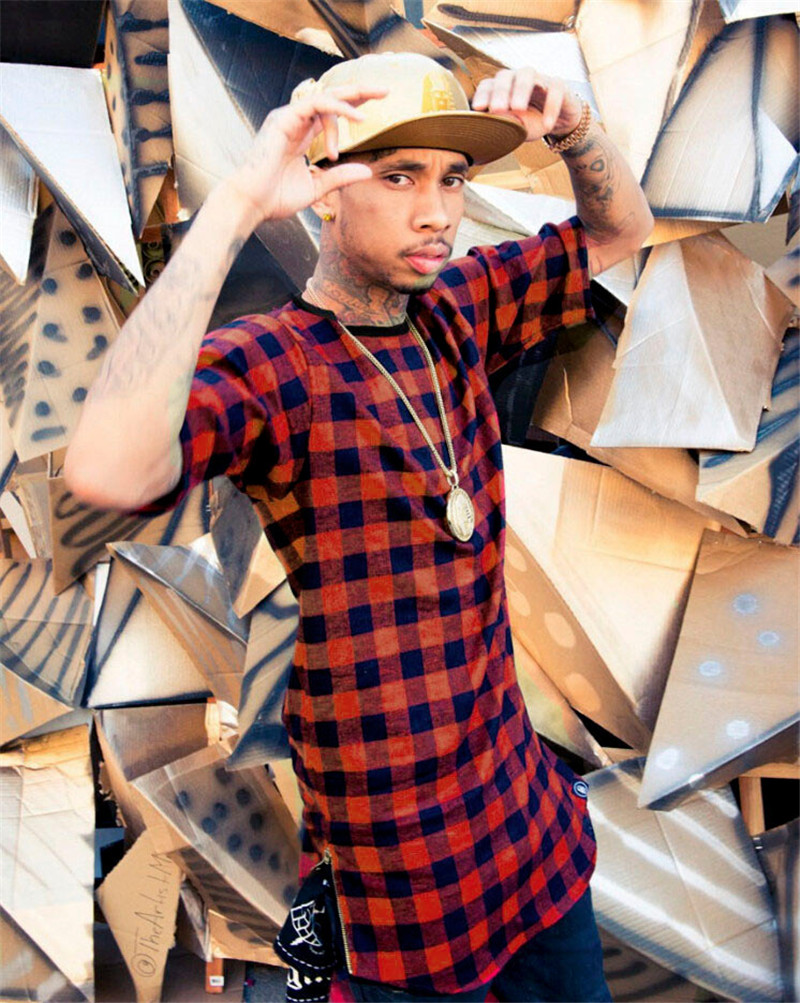 US $15 66  2017 Brand New Clothing Mens Checked Shirt Hip Hop plaid t shirt  Zipper Hiphop Swag T shirts Streetwear Mens Tyga male Tshirt-in T-Shirts