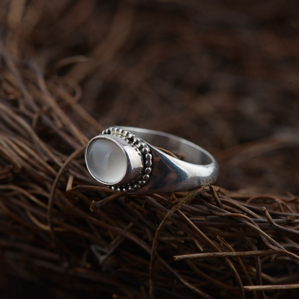 FNJ 925 Silver Ring Natural Moon Stone New Fashion Real S925 Sterling Thai Silver Rings for Women Jewelry USA Size 5.5-8 the character of the new fashion women s silver moon moon goddess calla true to life s925 ring