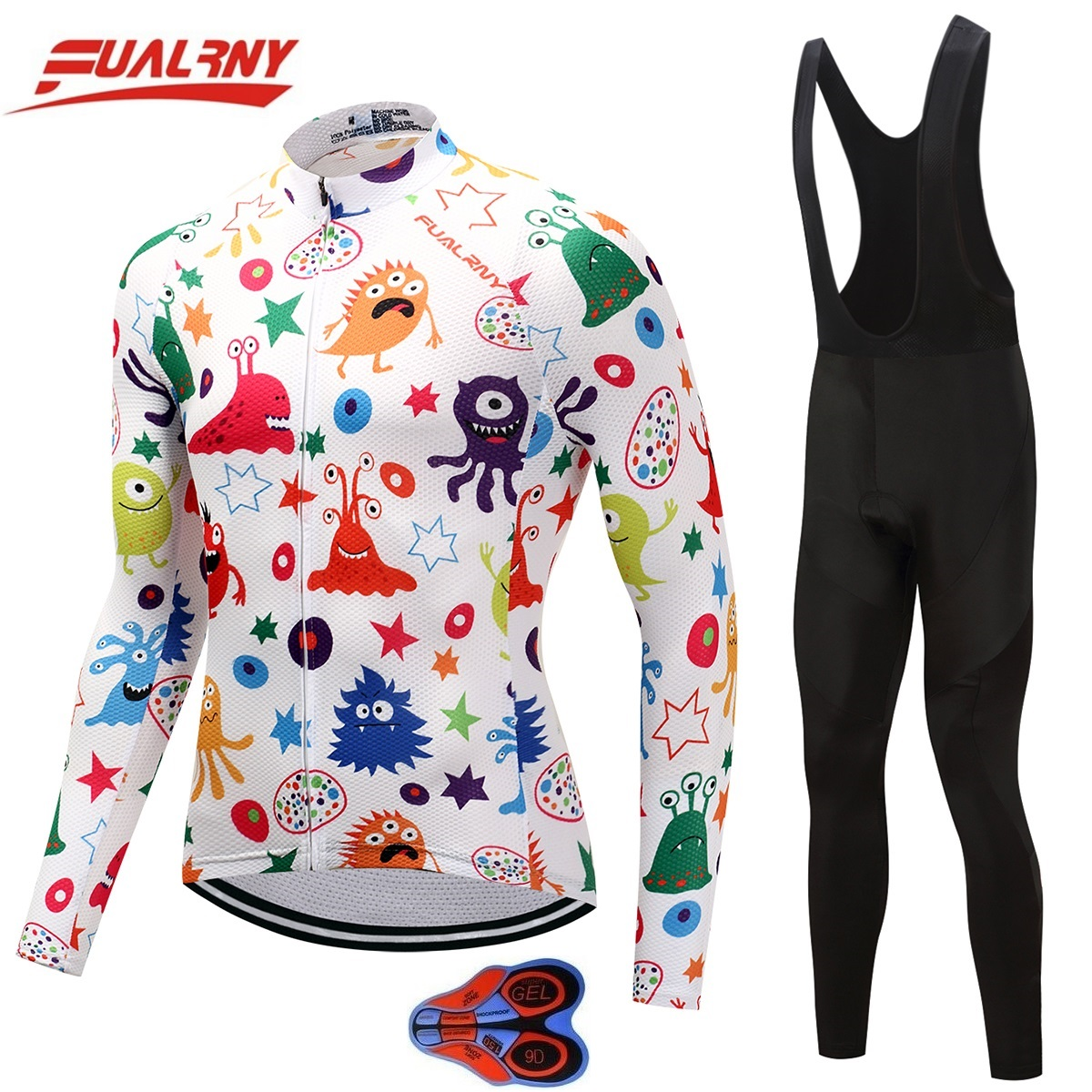 2018 Team FUALRNY Long sleeve Ropa Ciclismo Cycling Jersey sets 9D/Autumn Mountian Bicycle Clothing/MTB Bike Clothes Man Cartoon