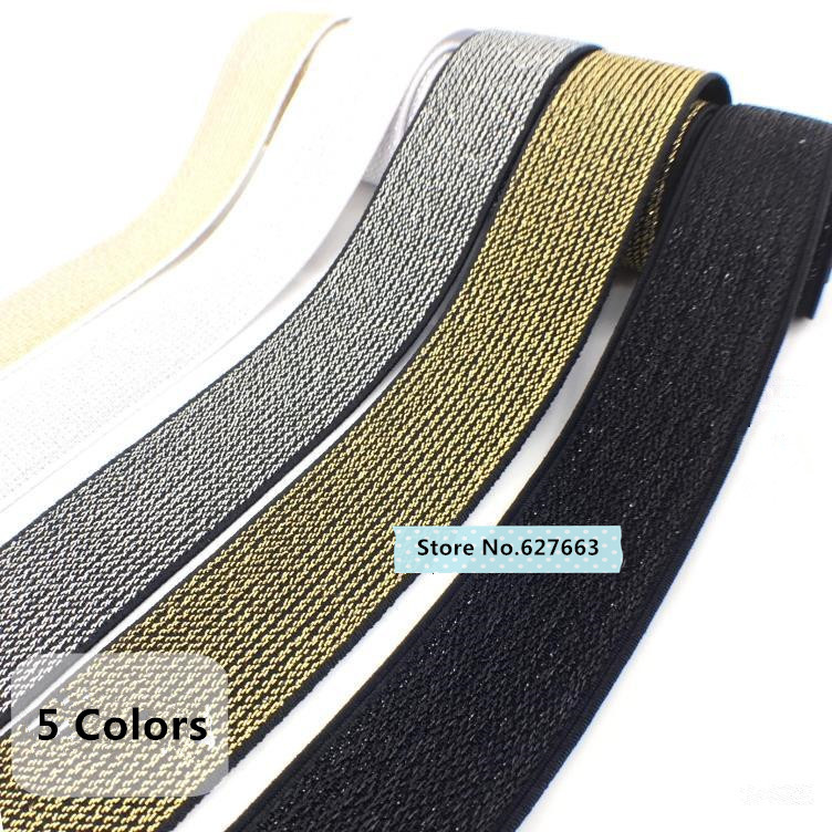 High-density Woven Gold Silk Silver Flat Elastic Bands Golden Silver Rubber Band DIY Garment Trousers Sewing Accessories
