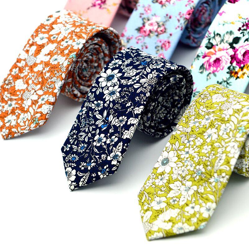 SHENNAIWEI Men's Cotton Print Tie 6cm European Style Fashion Casual Neckties Bridegroom Groomsman
