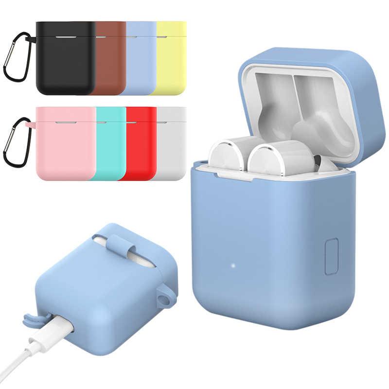 シリコンイヤホンケースとカラビナフック xiaomi 空気プロ Bluetooth ワイヤレスヘッドセット保護ケース保護カバーシェル