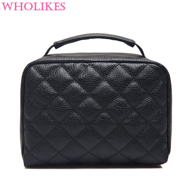 Wholikes Fashion Brand Leather Women Cosmetic Storage Cosmetic Bag Professional Makeup Bag Organizer for Cosmetics Make Up Bag